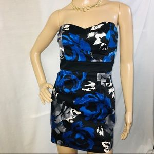 Strapless Blue Grey Black & White Dress